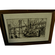 HARRIET GENE ROUDEBUSH (1908-1998) pencil signed etching of Oakland Bay Bridge, San Francisco, California by listed woman artist