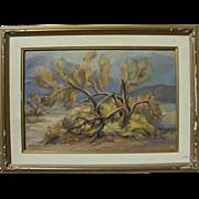 "California plein air art desert landscape painting ""Smoke Tree"" by listed artist Haydock"
