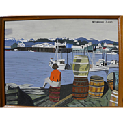 Alaskan art gouache landscape painting of Petersburg, Alaska