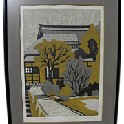 KIYOSHI NAGAI (1911-1984) pencil signed limited edition woodblock print by noted Japanese printmaker artist