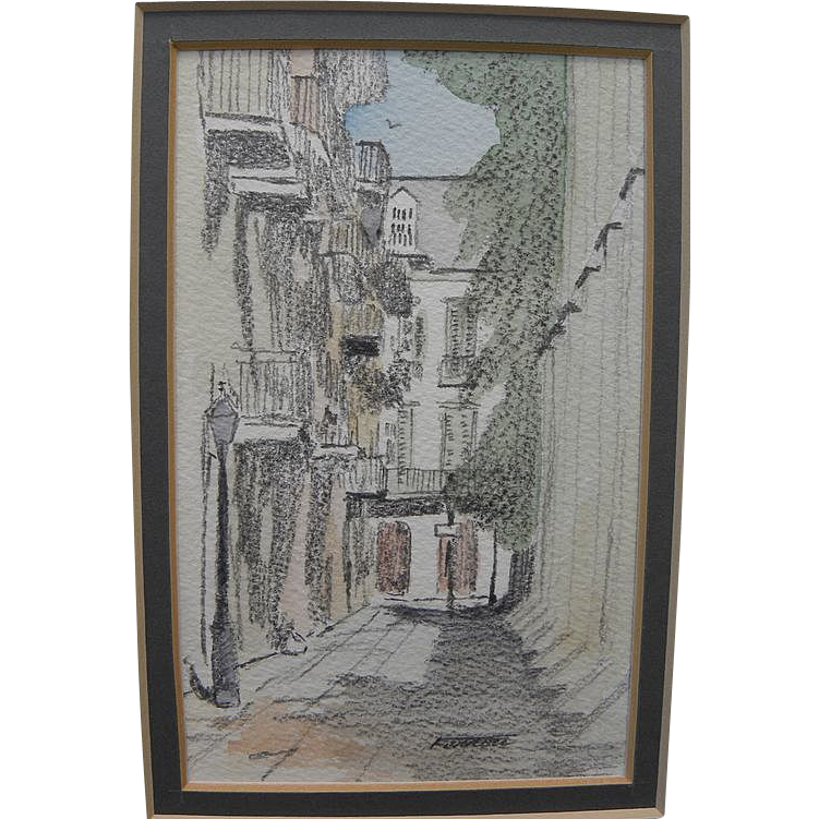 New Orleans Louisiana art pencil and watercolor signed drawing of Pirates Alley