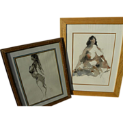 JACK LAYCOX (1921-1984) California watercolor art **PAIR** paintings of nudes