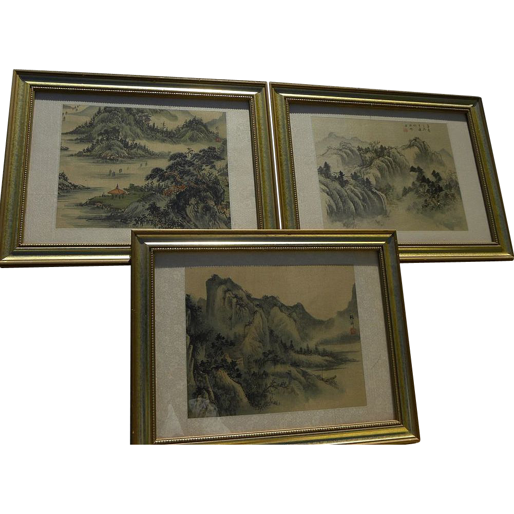 Three Asian watercolor on silk paintings