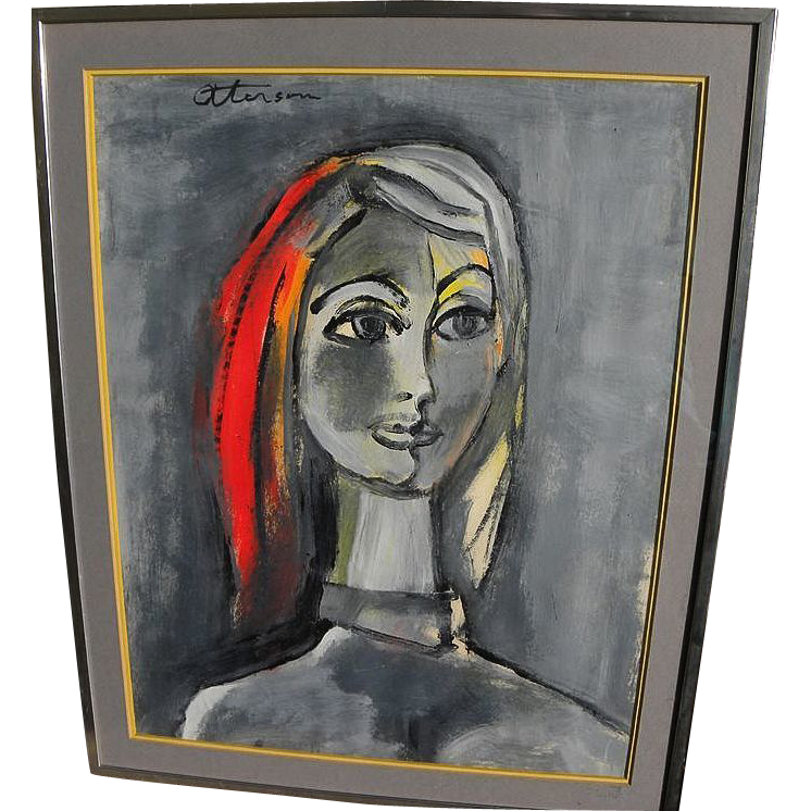 JOHN OTTERSON (1905-1991) modern gouache drawing of a lady by noted California artist