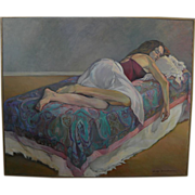 Large signed contemporary American figural painting young woman napping on a bed