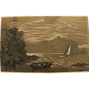 English mid 19th century drawing of boats along a dramatic coast‏
