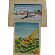 Aviation art PAIR 1950's gouache illustrations of Cessna and Piper Cub aircraft