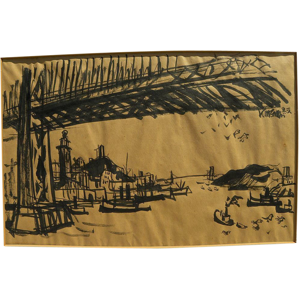 DONG KINGMAN (1911-2000) ink drawing of San Francisco bridges by important California watercolor artist