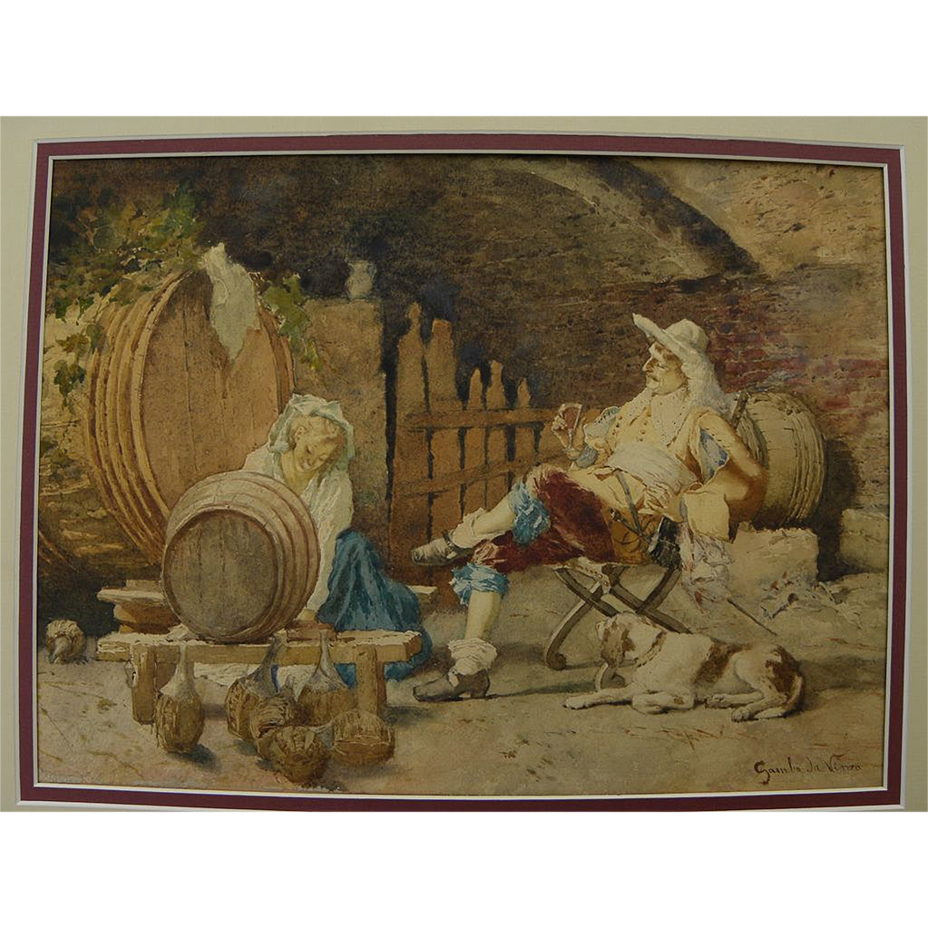 "Italian 19th century watercolor painting ""Tapping the Wine Barrel"" signed Gamba da Vinza"