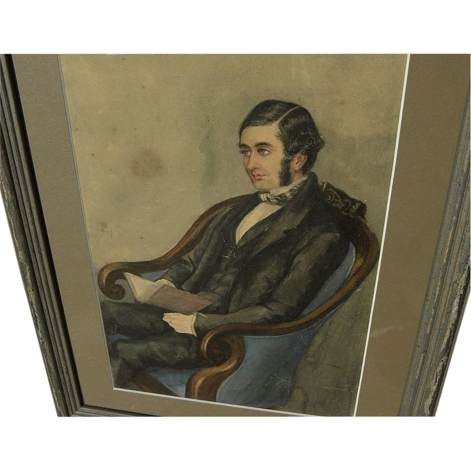 American or English 19th century watercolor painting of seated gentleman