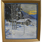 PAUL GREGG (1876-1949) fine western painting of a mountain cabin in deep snow by listed Colorado artist