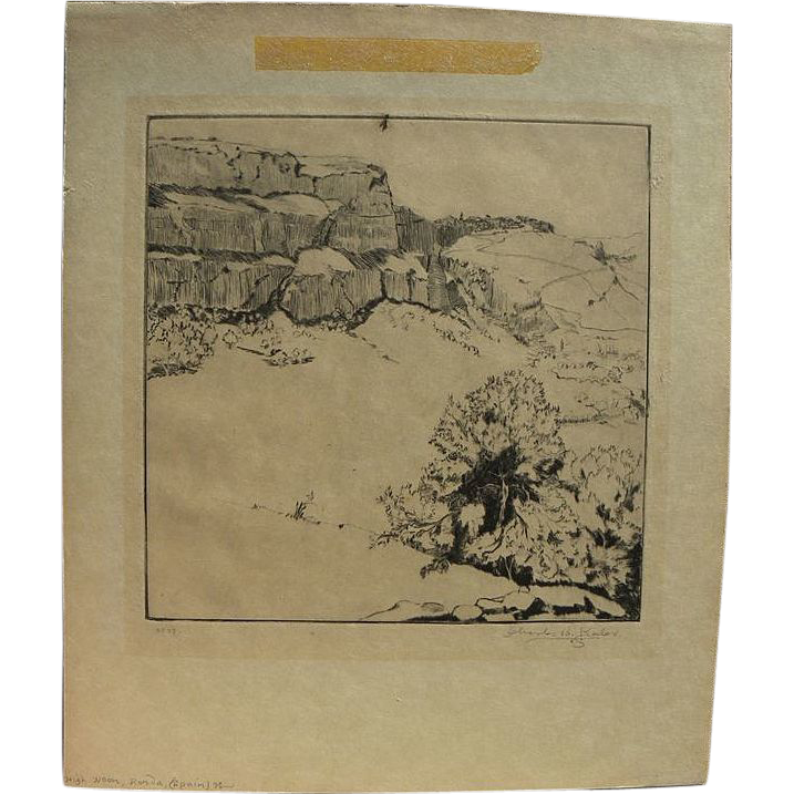 CHARLES BUTLER KEELER (1882-1964) pencil signed etching of Spanish landscape by listed California artist