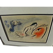 "MARC CHAGALL (1887-1985) original lithograph print ""Greeting Card for Aime Maeght"", 1960"