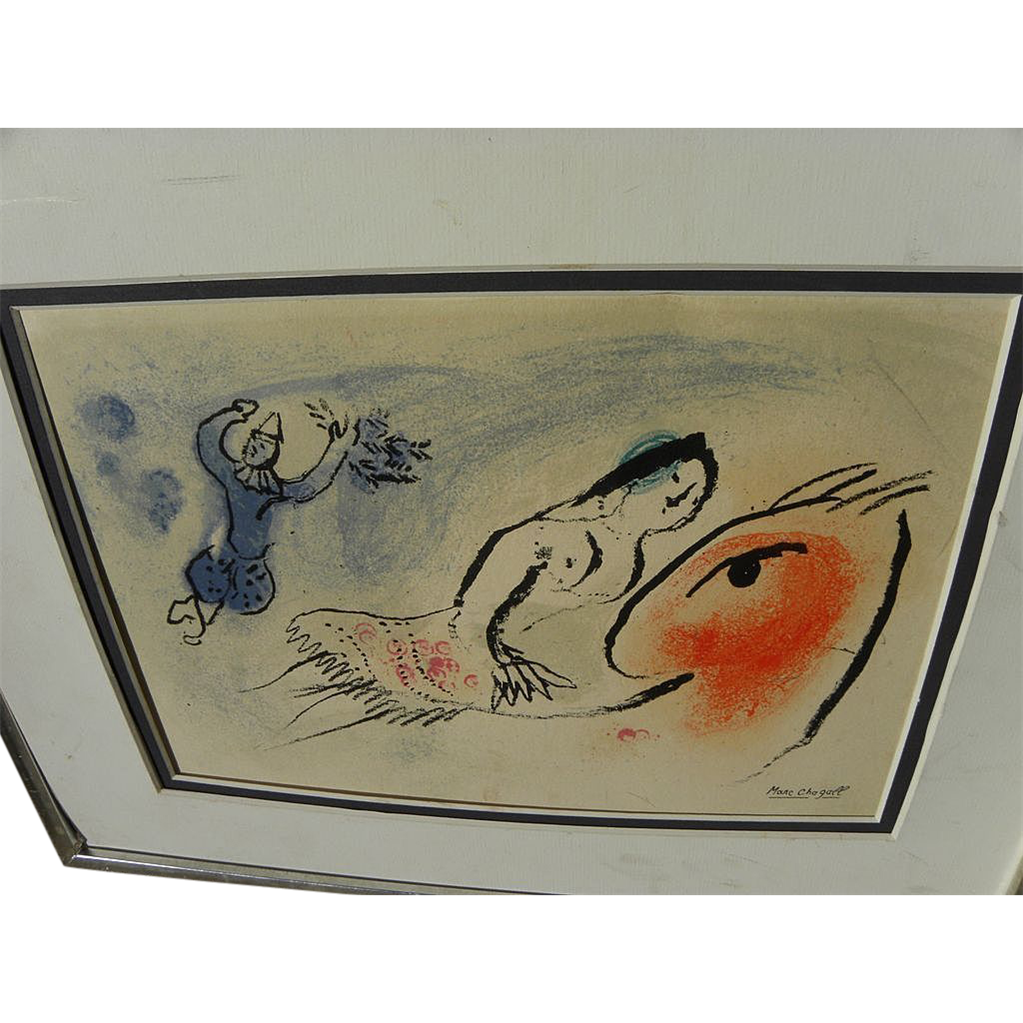 "MARC CHAGALL (1887-1985) original lithograph print ""Greeting Card for Aime Maeght"", 1960"