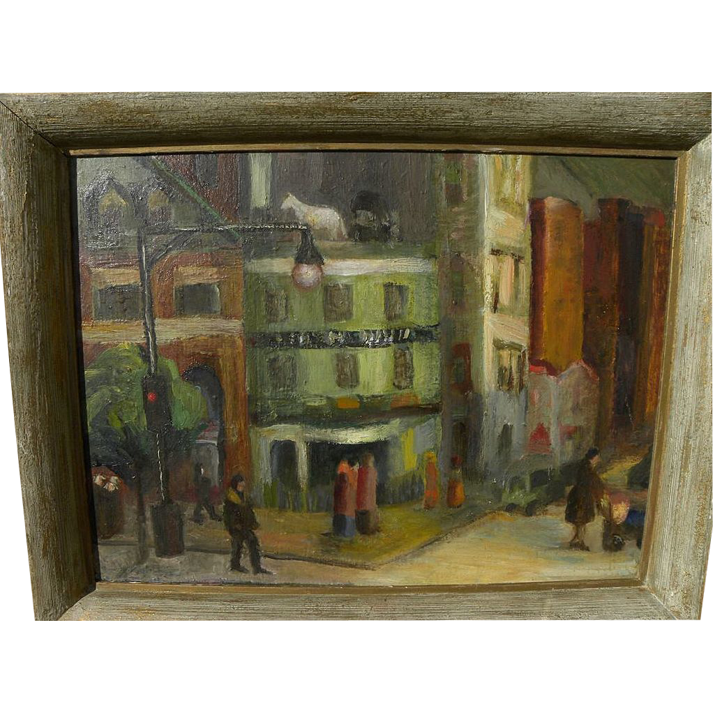 Circa 1940's New York Ashcan School style painting of Horse & Buggy Tavern by artist Jack Delaney
