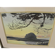 California central coast watercolor landscape painting possibly of Morro Rock at dusk