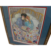 BARBARA A. WOOD (20th century California) pencil signed print of mother and daughter reading a book in a bed