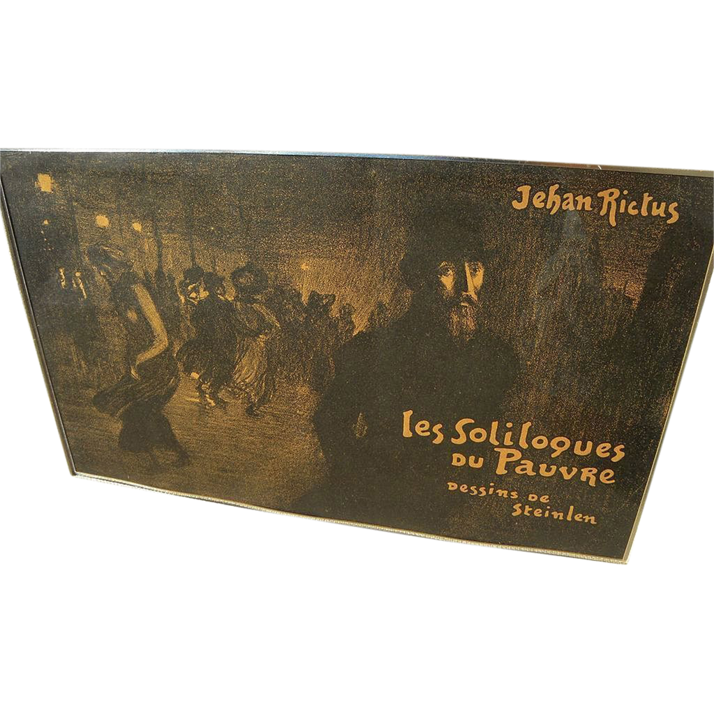 "THEOPHILE-ALEXANDRE STEINLEN (1859-1923) original lithograph ""Les Soliloques du Pauvre.."" illustration for jacket of poetry book"