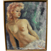 ANNE CINTELLYS impressionist painting of attractive young nude woman in style of Jean Gabriel Domergue