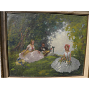 Poetic signed old impressionist oil painting of a man and two young women relaxing in forest glade in summer