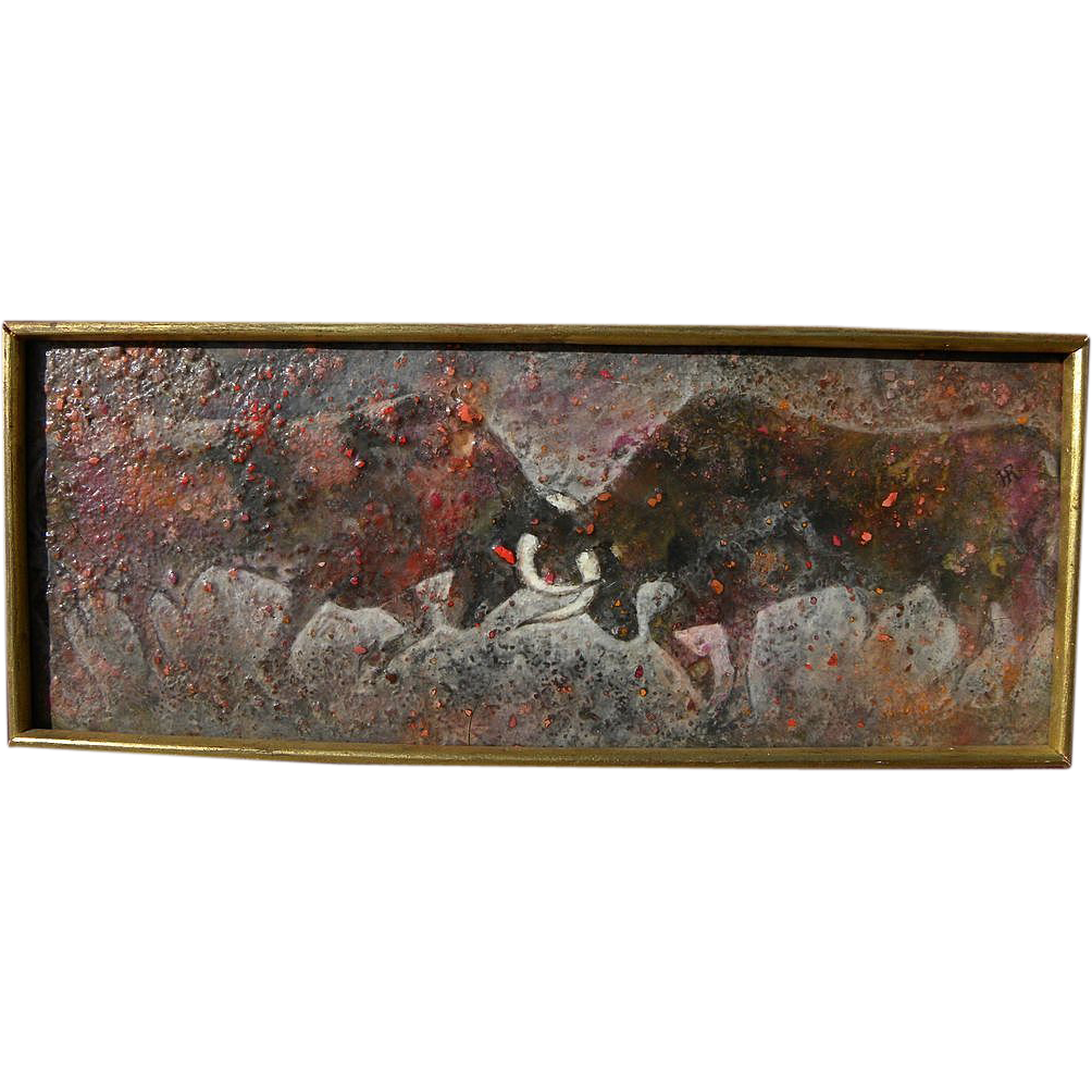 Modernist painting of two bulls locking horns signed Hugo Robus 1954