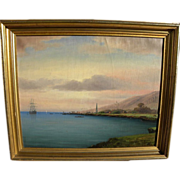 Hawaiiana 20th century painting of Kealakekua Bay, Hawaii, site of Captain Cook's death