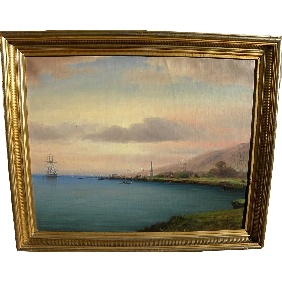 Hawaiiana 20th century painting of Kealakekua Bay, Hawaii, site of Captain Cook's death