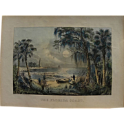"PAIR Currier and Ives original lithograph prints including scarce ""The Florida Coast"", and ""Harvest"", in matching rustic Adirondack style frames"