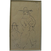 MANE-KATZ (1894-1962) ink drawing of Hasidic man and boy by the major Jewish artist