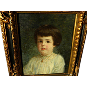 MARY FAIRCHILD LOW (1858-1946) beautifully painted portrait of a child by noted American impressionist artist