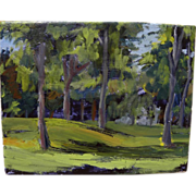 Impressionist contemporary painting of a knoll among trees