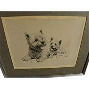 META PLUCKEBAUM (1876-1945) fine drypoint etching of Cairn Terriers by artist known for cat and dog art
