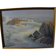 California art pastel drawing of coastal rocks and surf