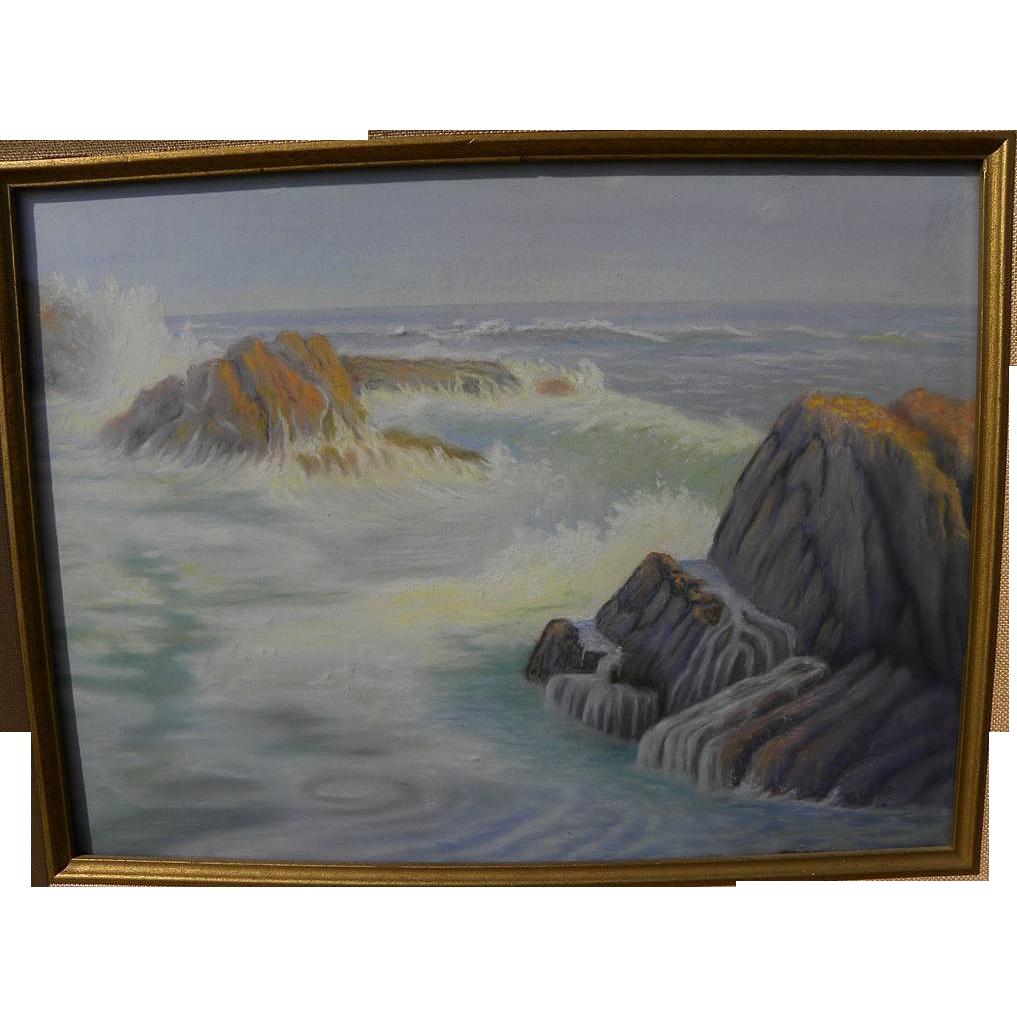 California art pastel drawing of coastal rocks and surf