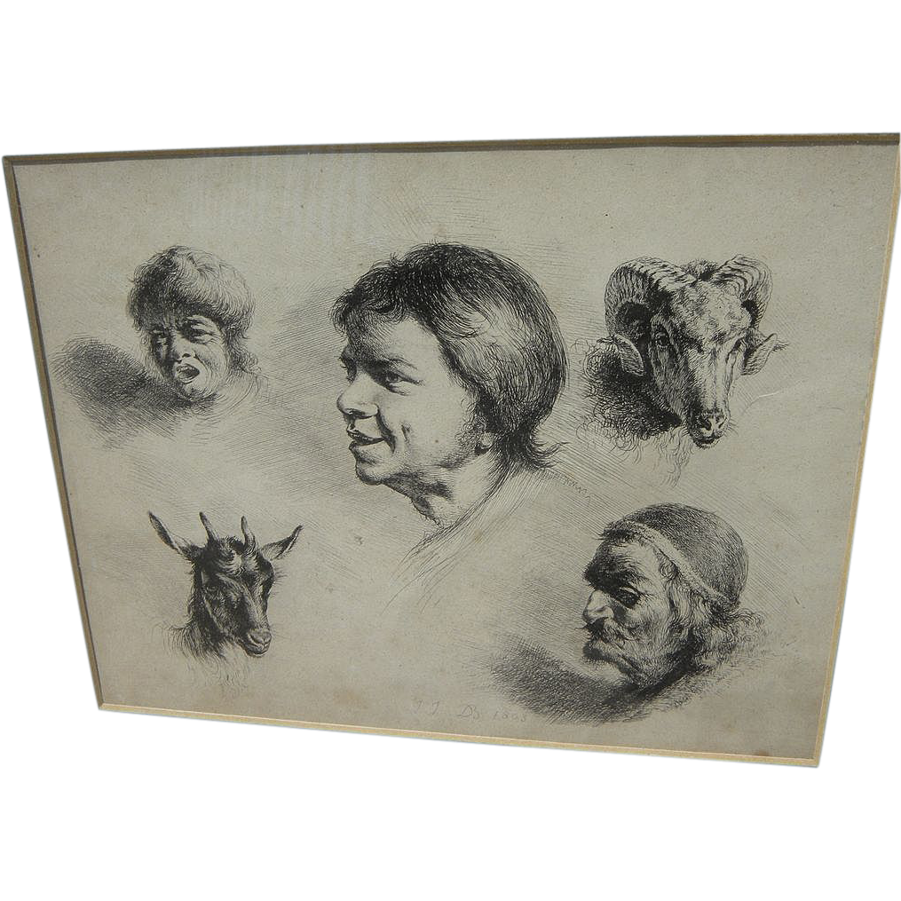 "JEAN-JACQUES DE BOISSIEU (1736-1810) fine old etching ""Cinque Tetes"" (Five Heads)‏"