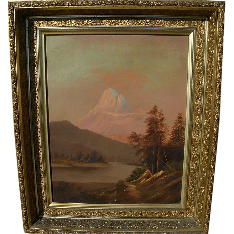Early California art beautifully framed Thomas Hill style landscape painting signed and dated 1886