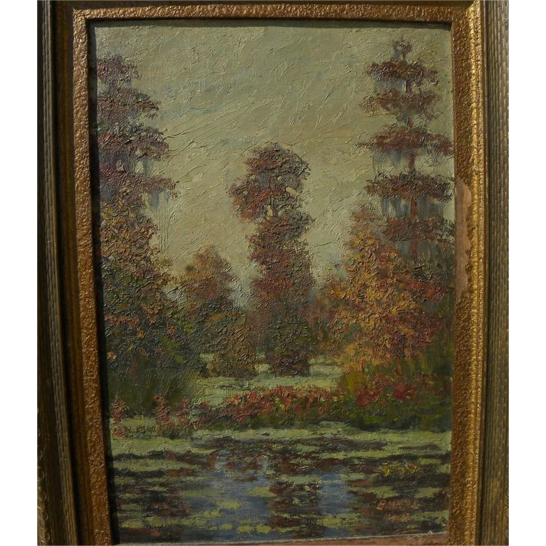 "PETER J. L. MARS (1874-1949) vintage Louisiana art oil painting ""Bayou Sauvage in the Fall on the Old Spanish Trails"""
