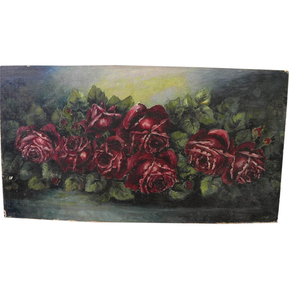 Vintage oil painting of roses by amateur artist