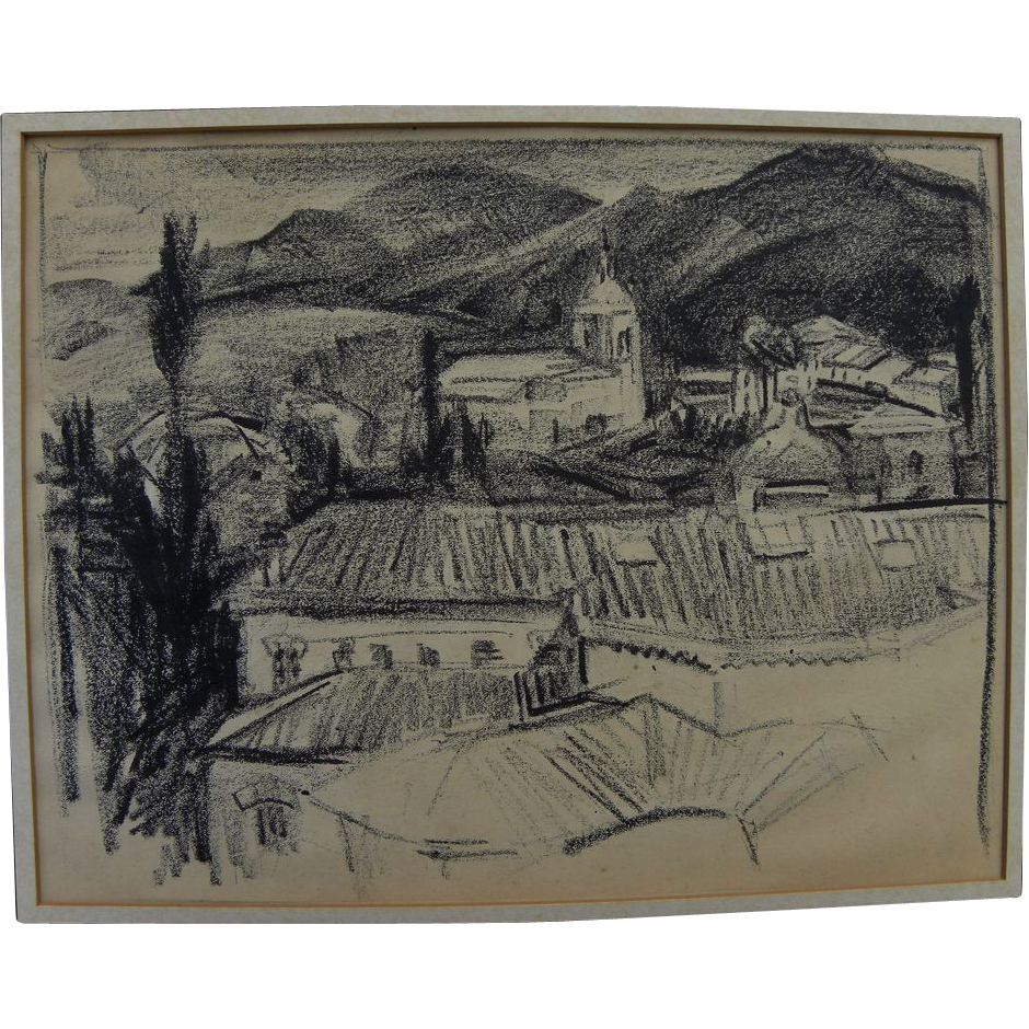 Crayon drawing of European village set in mountains