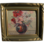 FAY McCULLOCH California art small still life oil painting with Arts and Crafts period frame