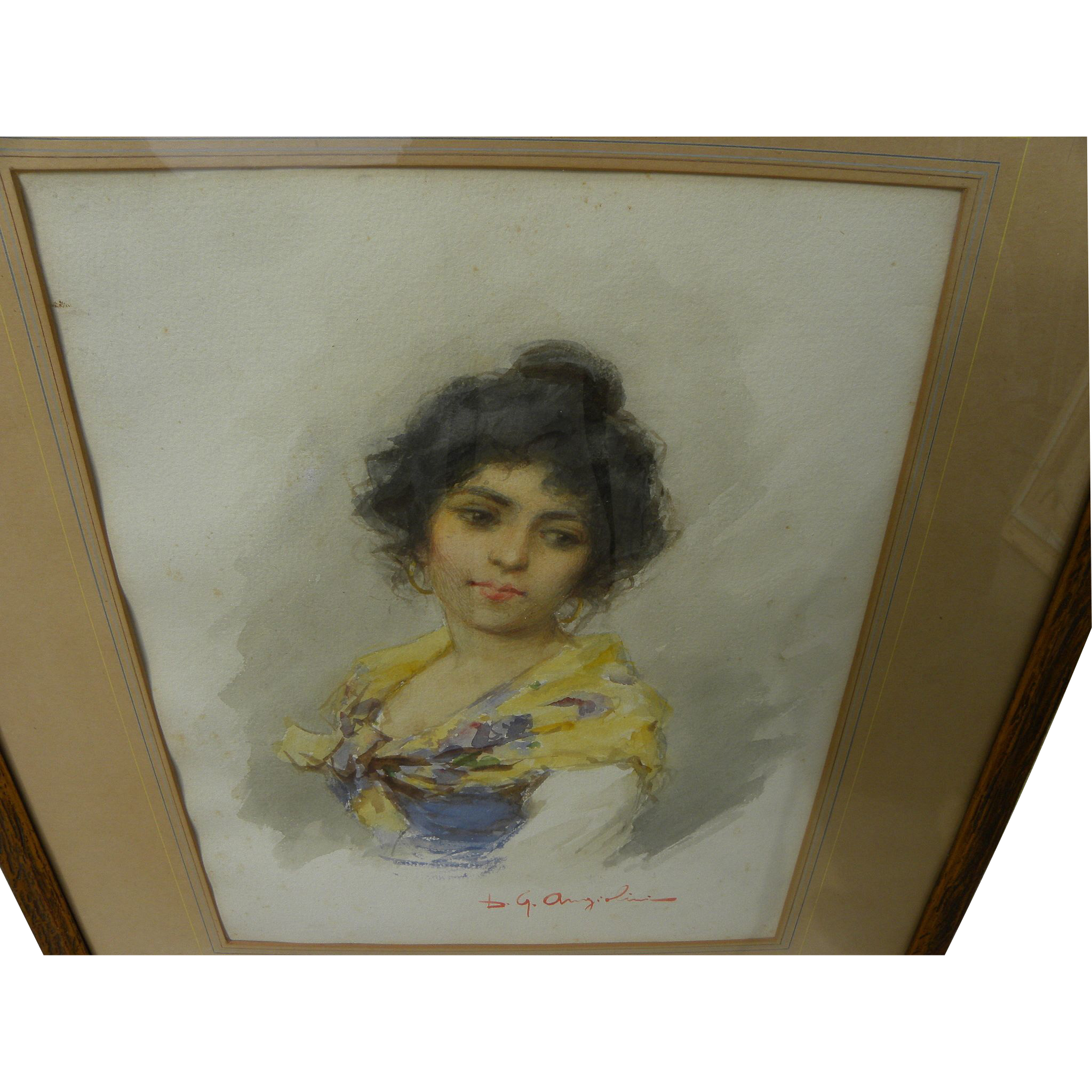 Italian circa 1900 watercolor painting of a young woman, signed D. G. Angiolini