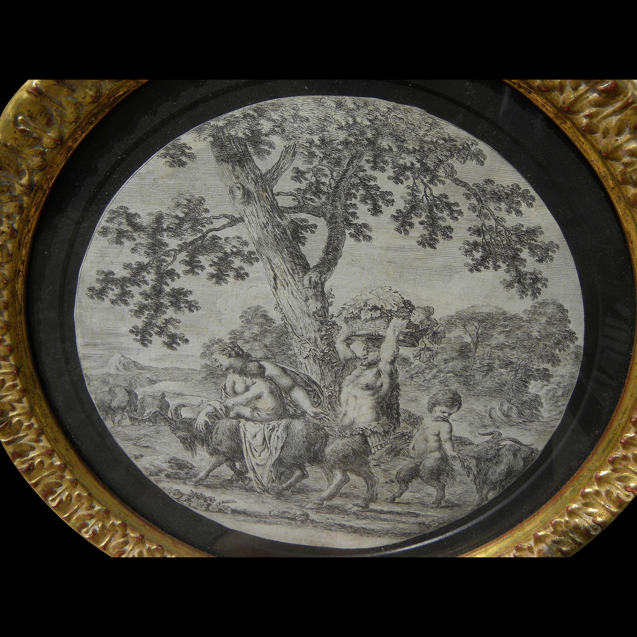 "STEFANO DELLA BELLA (1610-1664) Italian art etching ""The Satyr Family"" 1657"