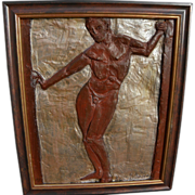 Contemporary sculptural panel of male nude by artist HAL ALTMAN (1922-2011)
