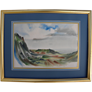 Modernist watercolor landscape painting signed Richardson, possibly Hawaiian scene, dated 1954