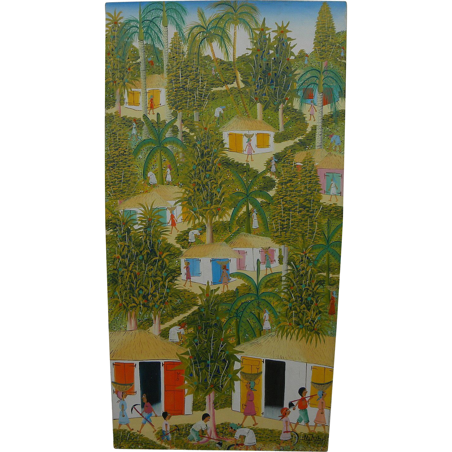 Haitian Art naive style painting of figures in a country landscape signed N. Jubie