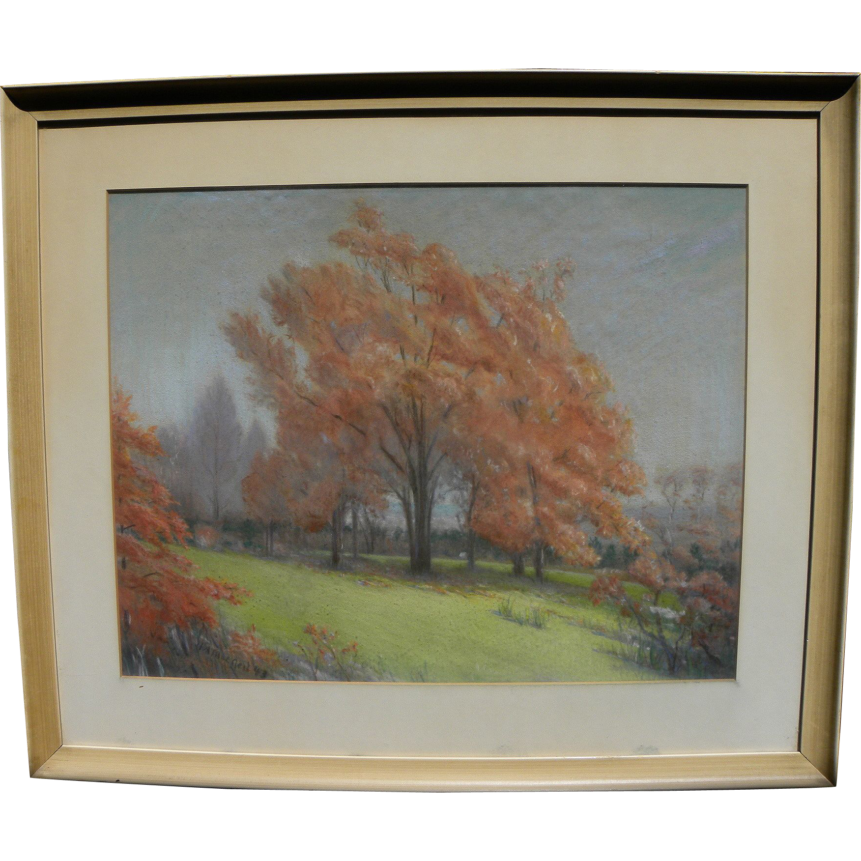 HERMON ATKINS MacNEIL (1866-1947) beautiful pastel landscape by National Academician famous American sculptor