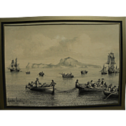GONSALVO CARELLI (1818-1910) Italian art watercolor and ink drawing of boats near Capri by noted Naples landscape artist