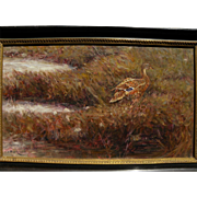 S. SCOTT ZUCKERMAN (1951-) oil painting of duck in autumn grass by noted American wildlife and sporting artist