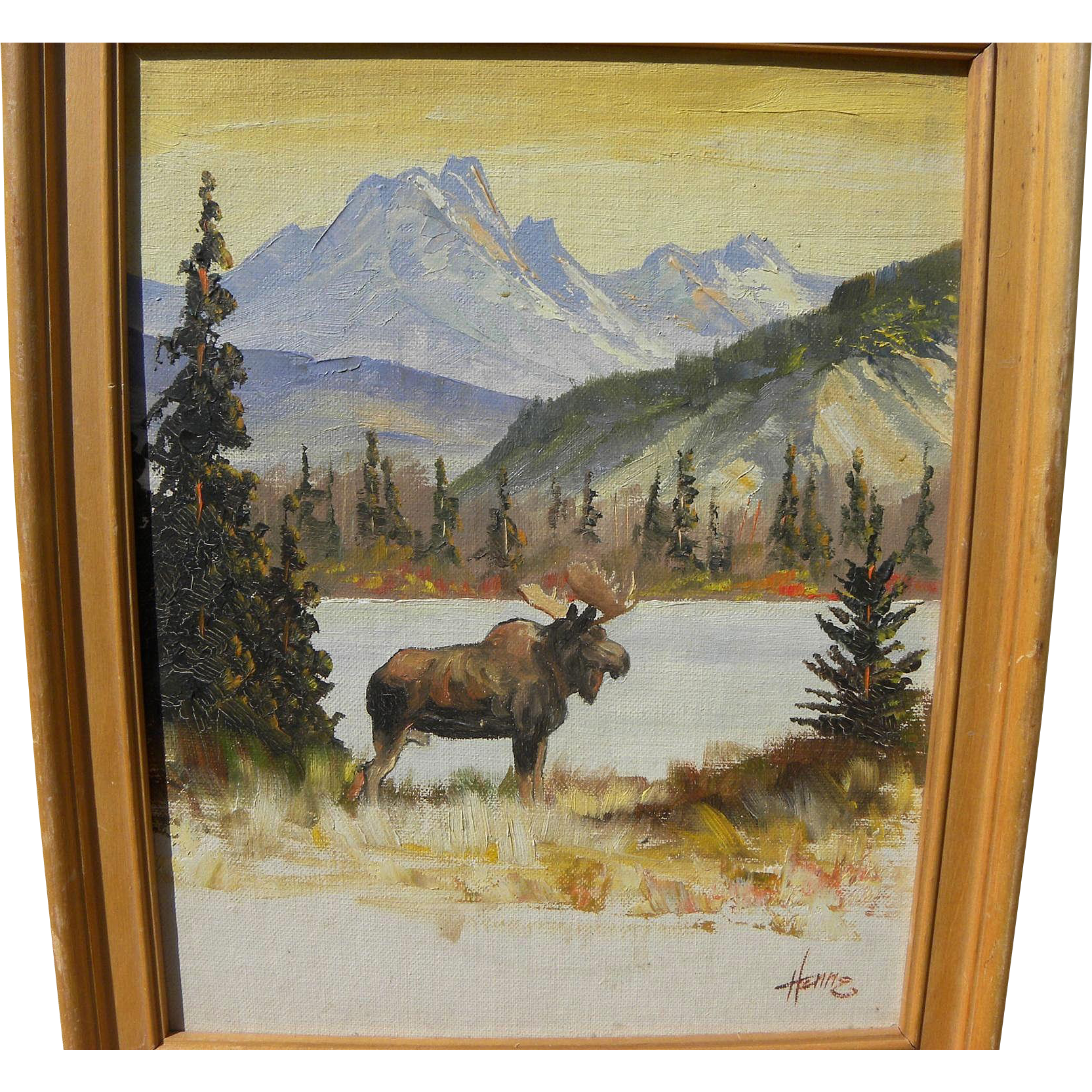 ELLEN HENNE GOODALE (1915-1991) Alaskan art landscape painting of moose in spectacular mountain setting by listed artist