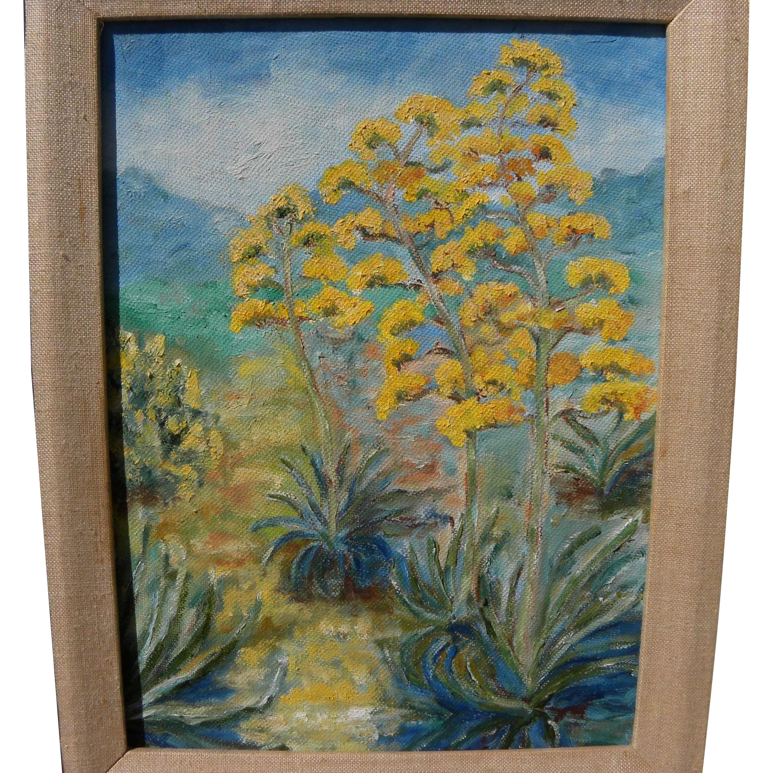 California plein air art desert landscape painting of flowering agave